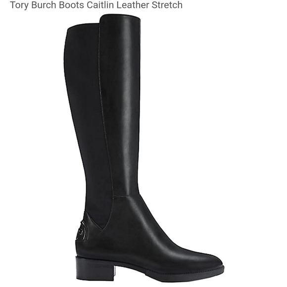Caitlin Leather Stretch Boots Black